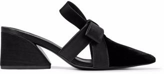 Mercedes Castillo Blanche Satin-trimmed Velvet Mules