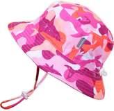 Twinklebelle Baby 50+ UPF Bucket Sun Hat with Chin Strap, Size Adjustable Aqua Dry