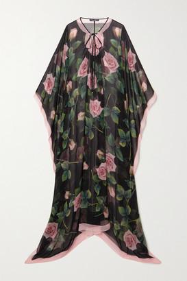 Dolce & Gabbana Floral-print Silk-chiffon Dress - Black