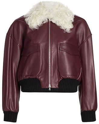 KHAITE Larissa Shearling-Collar Leather Bomber Jacket