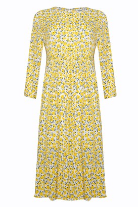 Glamorous Petites Womens **Ditsy Tiered Smock Midi Dress By Glamorous Petite - Yellow