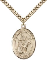 "F A Dumont 14kt Gold Filled St. Martin of Tours Pendant with 24"" Gold Plated, Stainless Steel Heavy Curb Chain. Patron Saint of Reformed Alcoholics"