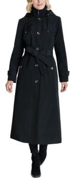 London Fog Petite Hooded Water-Resistant Raincoat