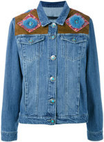 Simonetta Ravizza shoulder panel denim jacket - women - Cotton/Mink Fur/Suede - S