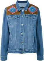 Simonetta Ravizza shoulder panel denim jacket - women - Cotton/Suede/Mink Fur - XS