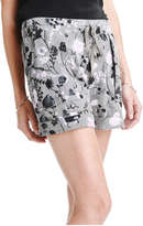 Joe Fresh Women's Floral Print Short, Dark Burgundy (Size XS)