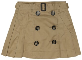 BURBERRY KIDS Pleated cotton skirt