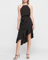 Express High Neck Asymmetrical Fit And Flare Dress