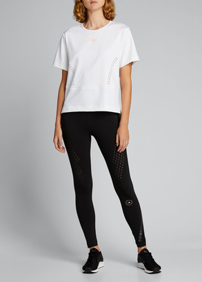 adidas by Stella McCartney Short-Sleeve High-Low Ventilated Active Tee