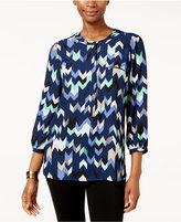 JM Collection Petite Printed Blouse, Only at Macy's