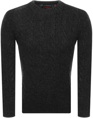 Superdry Orange Label Jacob Crew Knit Jumper Black