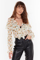 Nasty Gal Downhill from Sheer Floral Ruffle Blouse