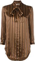 Nina Ricci tied neck striped shirt - women - Silk - 38