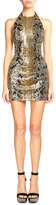 Balmain Sequined Snake-Pattern Mini Dress, Black/Gold