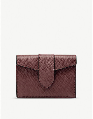 Smythson Panama mini leather tri-fold purse