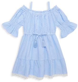 Design History Little Girl's Gingham Cold-Shoulder Seersucker Dress
