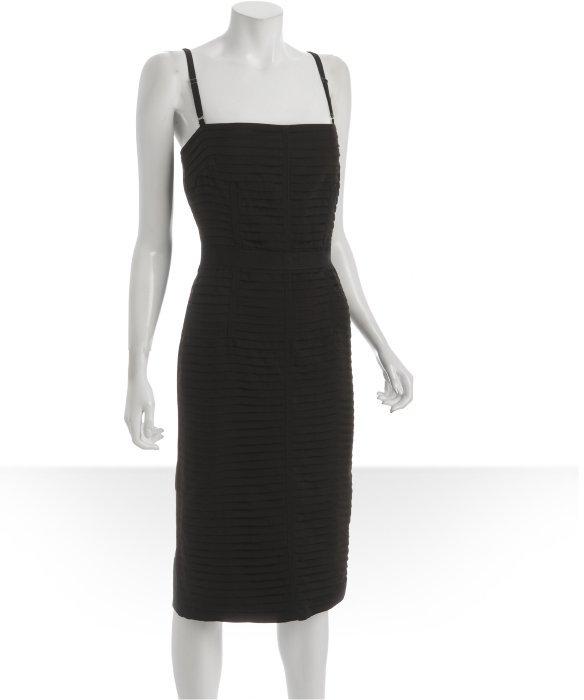 D&G black grosgrain trim pleated silk blend dress