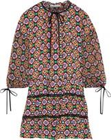 Alice + Olivia Palace Printed Georgette-paneled Crepe De Chine Mini Dress