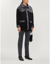 Sandro Denim-panel knitted cardigan