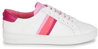 MICHAEL Michael Kors Irving Striped Croc-Embossed Leather Sneakers