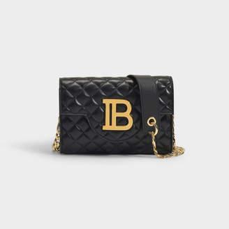 Balmain B-Enveloppe Bag In Black Quilted Lambskin With Metallic Logo