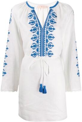 Tory Burch tassel-detail embroidered mini dress