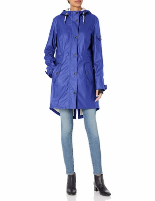 1 Madison Women's Matte Pu Rain Hooded Anorak Jacket