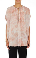 Raquel Allegra Women's Georgette & Jersey Split-Neck Top