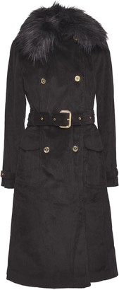 MICHAEL Michael Kors Faux Shearling-trimmed Cotton-corduroy Trench Coat