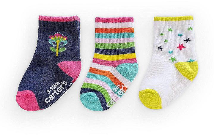 Gold Bug Carter's Girls Socks 3-Pack - Flower/Striped