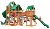 Gorilla Playsets Treasure Trove I Swing Set with Amber Posts & Deluxe Green Vinyl Canopy