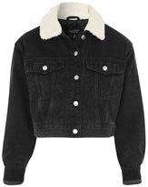 Moto crop denim borg jacket