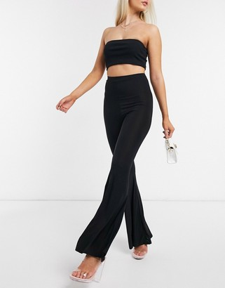 Fashionkilla flare pants with ruched bum detail in black