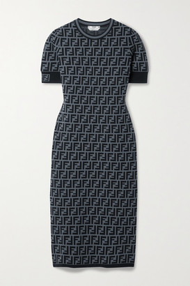 Fendi Jacquard-knit Midi Dress - Gray