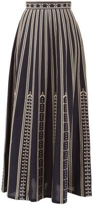 Le Sirenuse, Positano - Camille Greek Mask-embroidered Cotton Maxi Skirt - Navy
