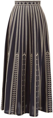 Le Sirenuse Le Sirenuse, Positano - Camille Greek Mask-embroidered Cotton Maxi Skirt - Womens - Navy