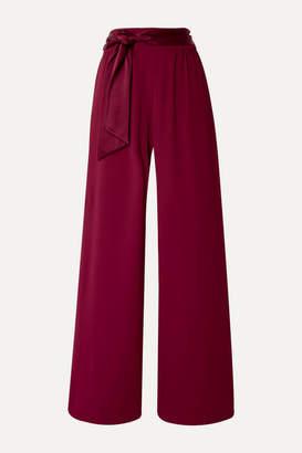 Alice + Olivia Merna Satin-trimmed Crepe Wide-leg Pants - Claret