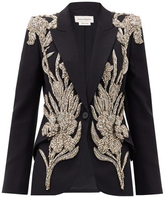 Alexander McQueen Crystal-embellished Leaf-crepe Jacket - Black
