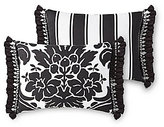 Rose Tree Symphony Tasseled Damask & Striped Reversible Sateen Pillow