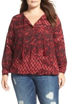 Lucky Brand Plus Size Women's Floral Peasant Blouse