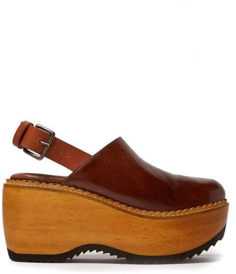 Marni Leather And Wood Slingback Clog Sandals - Womens - Dark Tan