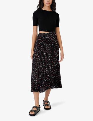 Maje Stretch-cotton and pleated woven midi dress