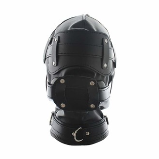 Dominate All Stars Detachable All-Inclusive Black Leather Headgear with Massage Stick