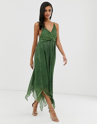 Asos Design DESIGN midi dress in washed chiffon with trimmed back detail-Green