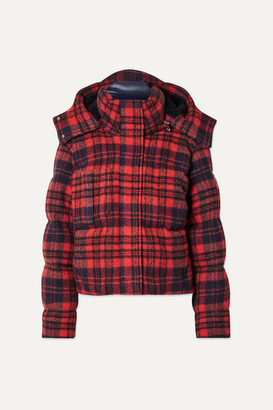 Chloé Hooded Quilted Checked Wool Jacket - Red