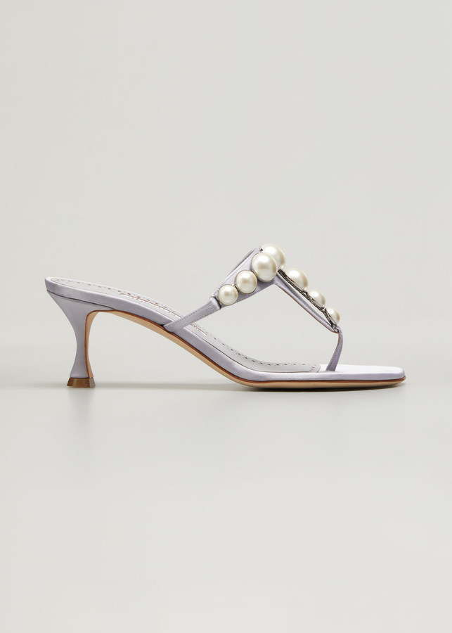 Thumbnail for your product : Manolo Blahnik Perlosa Pearly Stud Kitten-Heel Thong Sandals