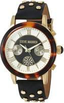 Steve Madden Women's Quartz Gold-Tone Casual Watch, Color:Black (Model: SMW001G-BK)