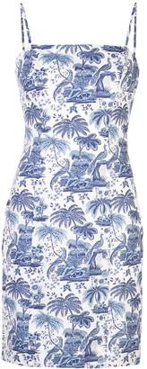 STAUD Printed Fitted Mini Dress