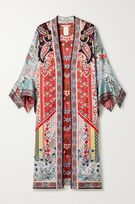 Alice + Olivia Alice Olivia - Lynn Reversible Printed Satin Kimono - Red