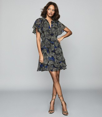 Reiss Sophie - Jungle Printed Dress in Blue/green